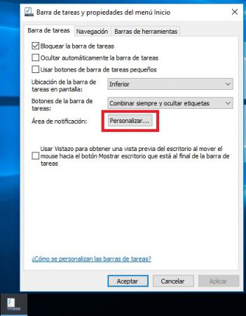 personalizar barra tareas windows 10