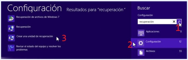 una unidad usb recuperacion sistema windows 8