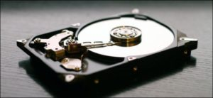 Image of the inside of a hard disk drive