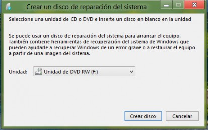 disco de reparación windows 8