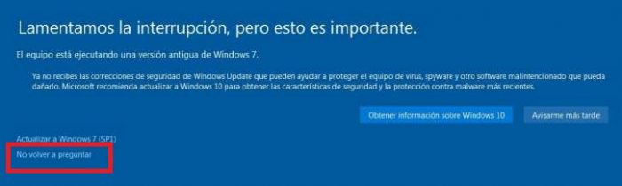 no actualizar a windows 10
