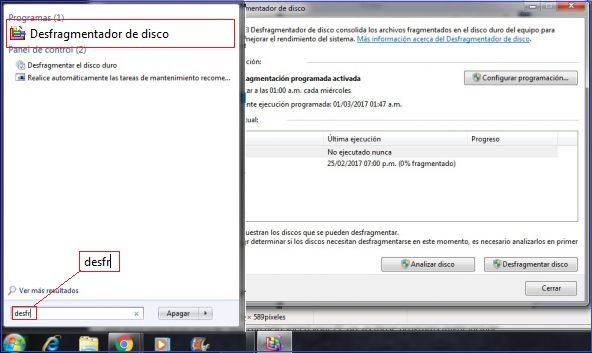 desfragmentar disco windows 7