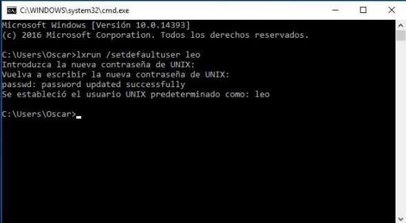 usuario bash windows 10