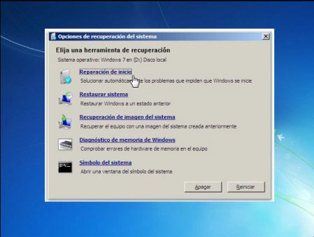 reparar arranque windows 7