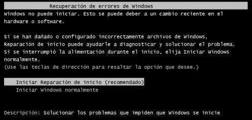 Reparar inicio de Windows 7
