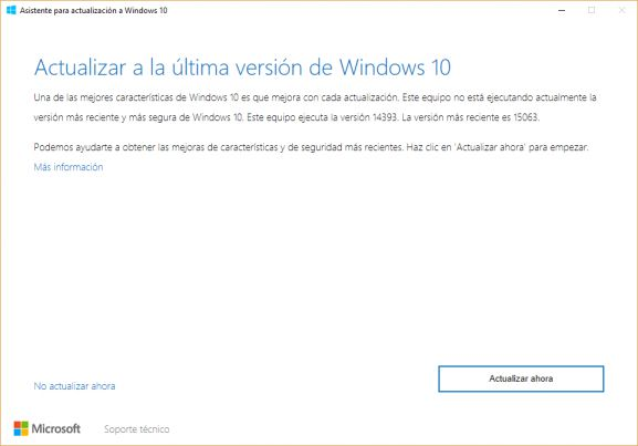 actualización Windows 10 creators update