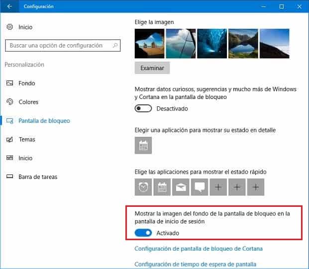 cambiar imagen de inicio de windows 10