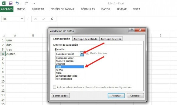 lista desplegable excel dependiente