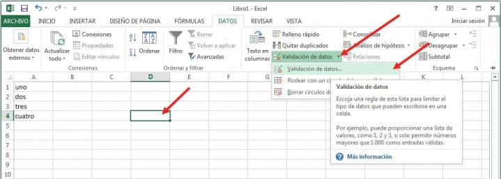 lista desplegable excel 2016