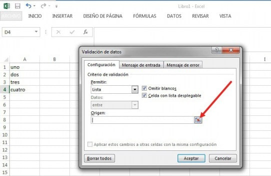 lista desplegable de excel