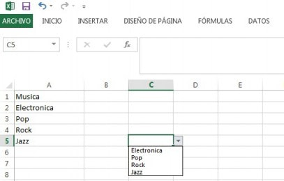 lista desplegable en excel